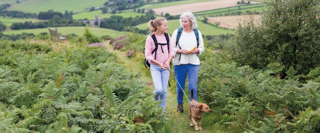 A girl and woman walk a dog through ferns in a green landscape